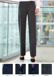 Elegant work trousers for elegant uniforms. Anti-fold fabric in polyester and wool. Ideal for receptionists, hostesses, hoteliers. Wholesale.