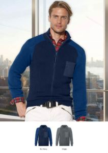 Men high neck sweater, long zip, shoulder and elbow patches, two waist pockets, 100% acrylic fabric