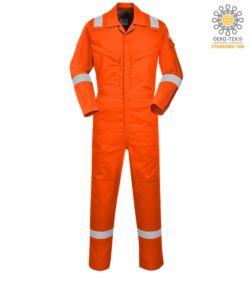 Tuta antistatica e ignifuga leggera, polsino regolabile, tasca su manica, tasche per ginocchiere, accesso laterale, tasca porta metro, anello radio, colore arancione. Certificato CE, EN11611, EN1149-5, EN 11612:2009