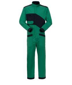 Tuta da lavoro bicolore, chiusura con cerniera e collo alla coreana, taschino sul petto e tasche sulle gambe di colore verde e nero