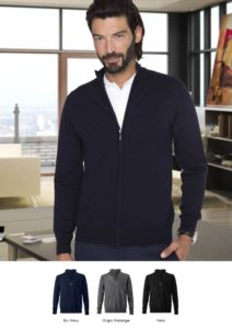 Unisex full zip sweater, elbow patches, ribs on the lower edges and cuffs, cotton and wool fabric