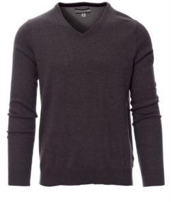 V-neck sweater with ribbed cuffs and waist, color grey