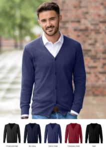 Men V-neck cardigan, classic cut model, ribbed neck and cuffs, central opening, cotton and acrylic fabric