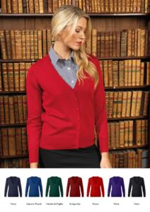 Women V-neck cardigan with ribbed neck and cuffs, central opening, cotton and acrylic fabric.