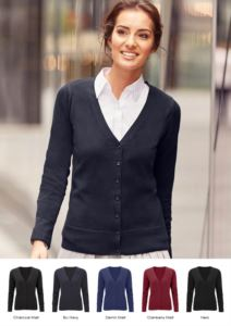 Women V-neck cardigan, classic cut, ribbed neck and cuffs, central opening, cotton and acrylic fabric