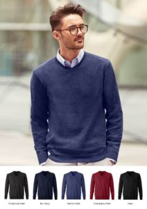 Men V-neck pullover with long sleeves, ribbed neck and cuffs, seamless, cotton and acrylic fabric