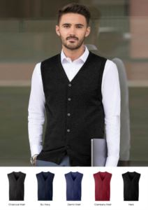 Unisex V-neck cardigan, classic cut, cotton and acrylic fabric. Wholesale of elegant work uniforms.