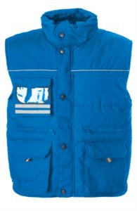 Rainproof padded multi pocket vest with badge holder, polyester and cotton fabric. Colour: royal blue