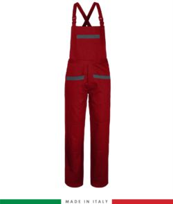 Two tone dungarees. Possibility of personalized production. Made in Italy. Multipockets. Color: red/grey