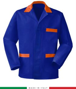 blue made in Italy work jacket, 100% cotton massaua and two pockets color blue/orange
