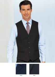 Vest in 100% superfine polyester fabric, available in Navy and Black. Ideal for porter, hotel and receptionist uniforms.