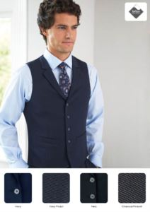 Elegant uniform vest with 5-button closure. Polyester, viscose and elastane fabric. Wholesale only. Get a free quote.
