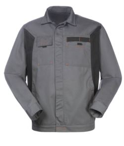 Two tone jacket in polyester and cotton, colour grey/black