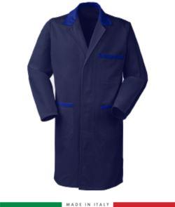 Navy Blue / Royal Blue men shirt with covered buttons 100% cotton massaua sanforizzato
