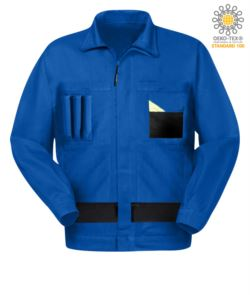 Two-tone multitasche work jacket with Korean collar. Royal Light Blue/Black color