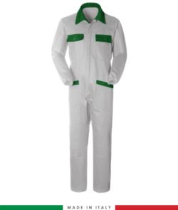 Two-tone ful jumpsuit , shirt collar, central covered zip, elasticated wais. Possibility of personalized production. Made in Italy. Color white/bright green