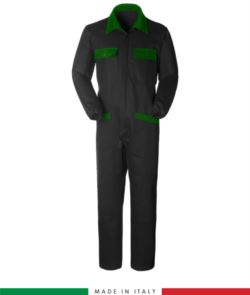 Two-tone ful jumpsuit , shirt collar, central covered zip, elasticated wais. Possibility of personalized production. Made in Italy. Color black/green