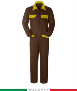 Two-tone ful jumpsuit , shirt collar, central covered zip, elasticated wais. Possibility of personalized production. Made in Italy. Color brown/yellow